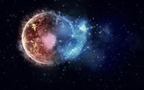 Картинка stars, space, планеты, краски, взрыв, burst, огни, colors, lights, planets, космос, звезды, 2560x1600