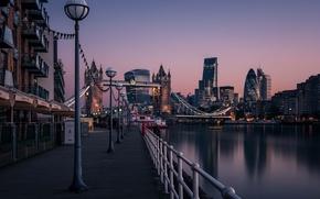 Обои England, Thames River, Tower Bridge, cityscape, dawn, urban scene, London, morning, sunrise