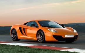 Картинка оранжевый, трасса, Обои, сумерки, McLaren MP4-12C