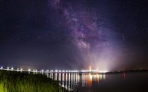 Обои пейзаж, звезды, млечный путь, мост