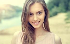 Картинка глаза, девушка, лицо, улыбка, волосы, красавица