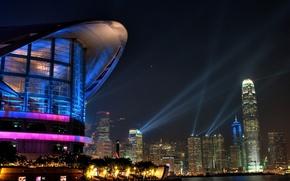 Картинка город, небоскребы, вечерние огни, гонконг