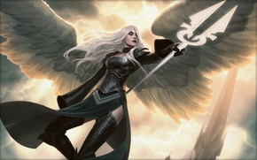 Картинка девушка, свет, полет, надежда, крылья, ангел, Jason Chan, Magic The Gathering, Avacyn Angel of Hope