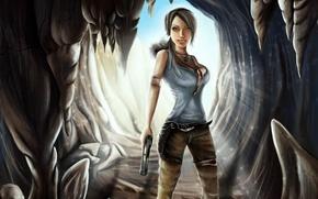 Картинка девушка, свет, пистолет, арт, Tomb Raider, пещера, lara croft