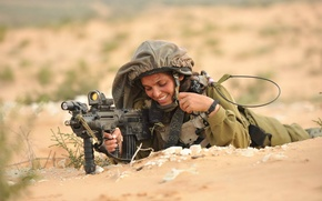 Картинка девушка, оружие, солдат, Israeli Defence Force