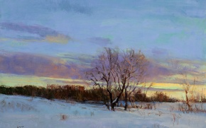 Картинка картина, свет, снег, небо, зима, арт, дерево, сумерки, облака, Peter Fiore, February Twilight, ветки, пейзаж, ...