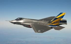 Обои самолет, высота, истребитель, F-35