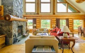 Картинка design, wood, interior, villa, fireplace, living space
