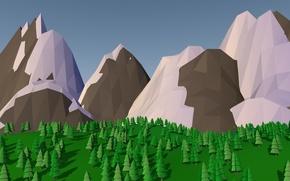 Картинка деревья, горы, lowpoly