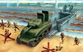 Картинка море, рисунок, арт, солдаты, высадка, M4A1, Sherman, Оверлорд, LCM 3, шнорхеля