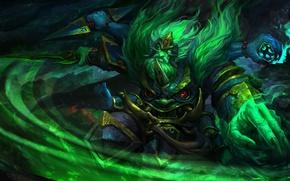 Картинка оружие, красота, арт, когти, зелёный, Dota 2, Ostarion, Wraith King