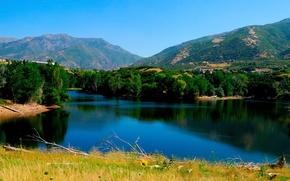 Обои домики, водоём, лес, горы