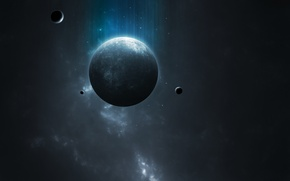 Картинка dark, light, blue, planet, Sci Fi