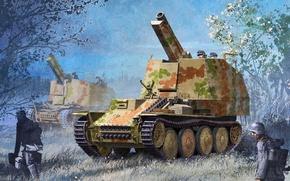 Картинка рисунок, арт, сверчок, самоходная гаубица, Panzerhaubitze, Grille, немецкая самоходная артиллерийская установка, Sd.Kfz. 138/1 ausf. m, ...