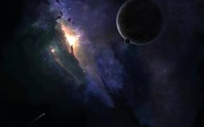 Обои корабль, звезды, Планета