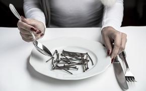 Картинка тарелка, ложка, вилка, гвозди