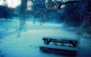 Картинка снег, деревья, скамейка, парк, Зима, размытость, столик