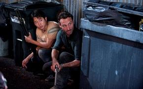 Картинка фон, зомби, актёры, zombie, сериал, serial, The Walking Dead, Rick Grimes, Ходячие мертвецы, Andrew Lincoln, …