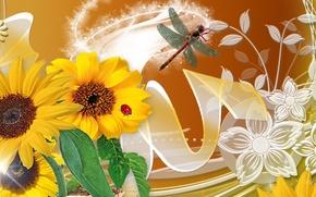 Картинка цветы, насекомые, природа, коллаж, божья коровка, стрекоза, лепестки
