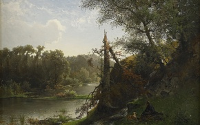 Картинка природа, река, Альфред Валберг, Речной ландшафт с охотником и собакой