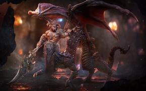Картинка дракон, крылья, меч, демон, хвост, лава, пещера, art, Lord Sorrow