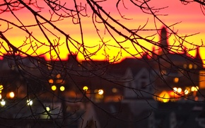 Картинка city, город, огни, Англия, вечер, sunset, Gloucester