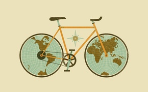 Картинка рисунок, Велосипед, глобус