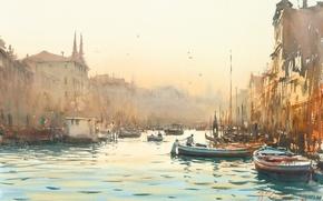 Обои венеция, лодки, рассвет, акварель, каналы