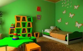 Обои детская, стол, кровать, шкаф, спальня