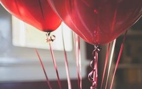 Картинка шарики, красные, воздушные, ленточка