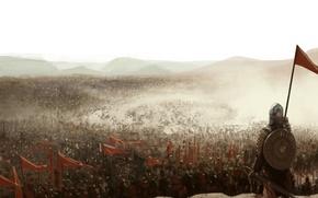 Картинка войны, флаги, средневековье, рыцари, пыль армия