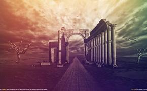 Картинка небо, пустота, цвета, деревья, птицы, ветер, колонны, руины, глушь, The Ruins