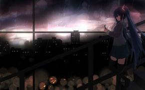 Обои hatsune miku, shy, арт, наушники, дождь, город, аниме, девушка, vocaloid