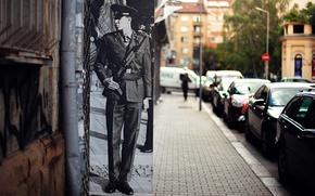 Картинка город, фото, улица, солдат, автомат, военный, Болгария, Sofia