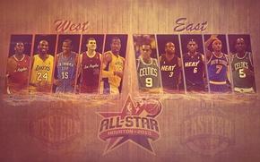 Картинка Баскетбол, All Star, NBA, LeBron James, Kobe Bryant, Kevin Durant, Dwyane Wade, Kevin Garnett, Dwight …