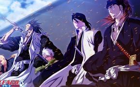 Картинка fire, flame, sword, logo, game, Bleach, sky, anime, katana, man, captain, asian, manga, japanese, oriental, …