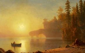Картинка пейзаж, картина, Альберт Бирштадт, Каноэ Индейцев