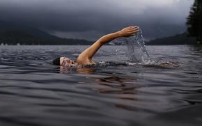 Картинка water, man, hand, guy, male, stop motion, Lake Dunmore, swimmer