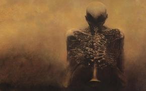 Обои мрак, кости, скелет, пальцы, zdzislaw beksinski, дудка