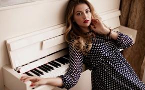 Картинка девушка, музыка, Alina, пианино