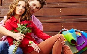 Картинка цветы, взгляд, улыбка, девушка, парень, шатенка, яркость
