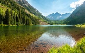 Картинка лес, небо, вода, прозрачность, деревья, горы, озеро