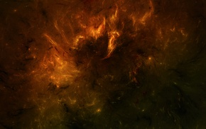 Обои горящая, небула, космос, звезды, туманность