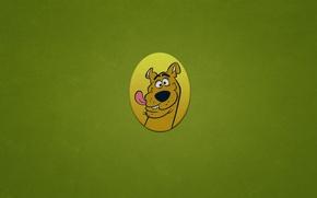Обои собака, минимализм, овал, Скуби-Ду, Scooby-Doo, смешная морда, зеленоватый фон