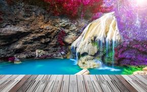 Картинка мост, скала, водопад, HDR, Тайланд, Thailand, waterfall, crag