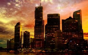 Картинка закат, город, огни, река, неон, wallpaper, набережная, небоскрёбы, city lights, skyscraper, Australia, Methevas, Автралия, Sunset …