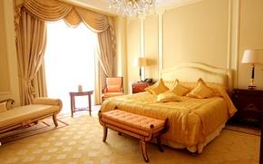 Обои стиль, диван, комната, интерьер, квартира, кровать, занавеска, лампа, желтое, подушки, спальня, кресло, дизайн