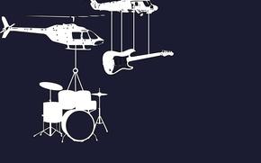 Обои гитара, вертолеты, инструменты, барабаны, музыкальные