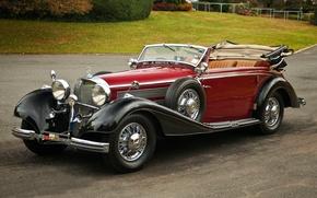 Картинка ретро, Mercedes-Benz, кабриолет, мерседес, передок, Cabriolet, красивая машина, by Sindelfingen, 540K, 1937