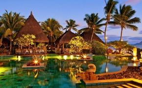 Картинка вечер, бассейн, курорт, resort, Mauritius, restaurant, Magnificent